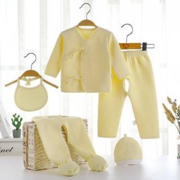 新生儿黄色加厚保暖套装 婴儿保暖五件套 秋冬五件套 欢迎选购