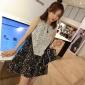 【�X夫人】雪梨定制 �n版夏季�@瘦黑白蕾�z拼接�o袖�B衣裙短裙女